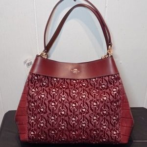 NWT COACH Flocked Chain Lexy Shoulder Bag-Claret